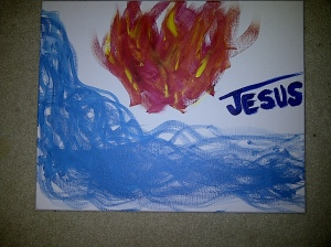 I painted this during worship. I sensed and felt a river moving through in the spirit along with fire.