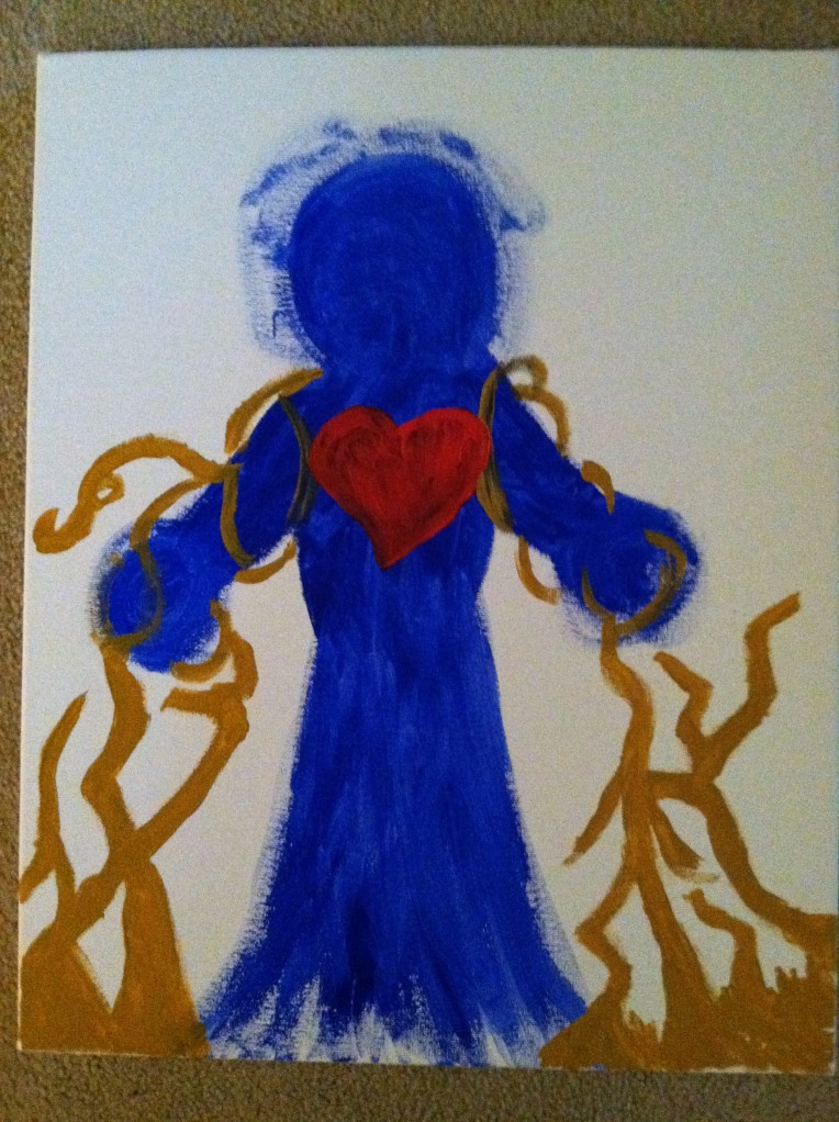 I painted this when I felt bound, but hopeful. I know Jesus will not allow me to stay bound by a yoke of slavery.