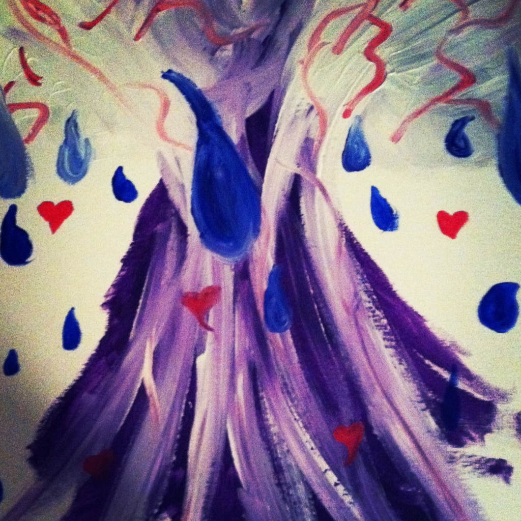 I painted this after a hurt I experienced. God always brought in his trein of purple to comfort me. This is what was going on inside of my heart. (Emotions).