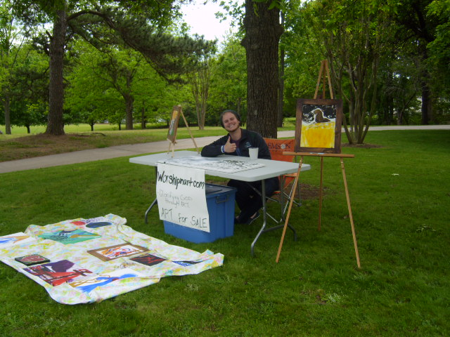 Selling art in the yard.